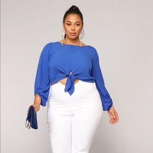 Fashion Nova Swipe Right Top- Royal